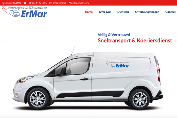 ErMar koeriersdiensten website